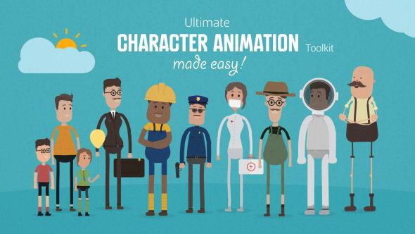 AE模板:终极MG卡通人物角色绑定骨骼动画工具包 Ultimate Character Animation Toolkit
