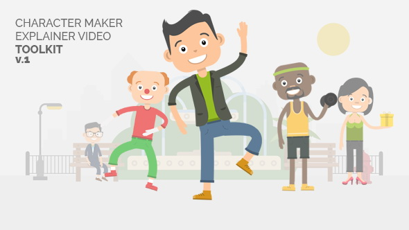 AE模板:二维卡通角色解说人物制作工具包 Character Maker - Explainer Video Toolkit