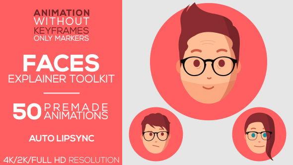 AE模板:二维卡通人物头像绑定自动口型MG动画元素工具包 Faces Explainer-Toolkit