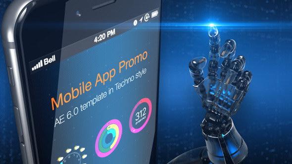 AE模板:机械科技手臂触控手机应用介绍展示 Mobile App Promo Pack