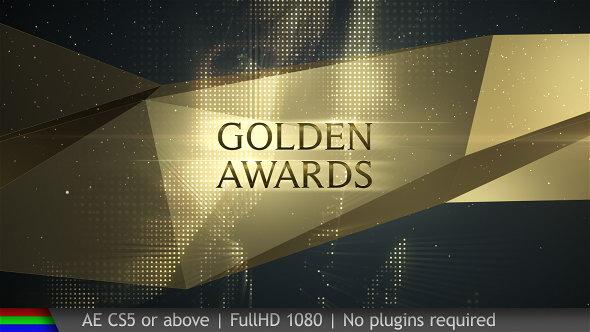 AE模板:大气奢华金色背景活动晚会颁奖典礼栏目包装 Awards Golden Show