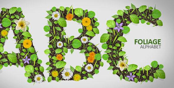 AE模板:植物生长蔓延花开数字字母动画展示 Foliage Alphabet