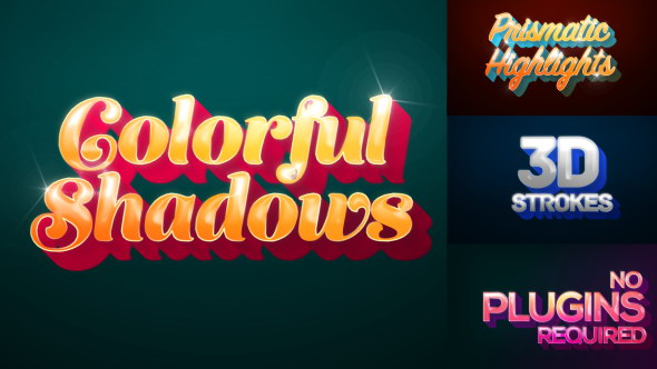 AE模板:炫彩动感阴影文字标题 Colorful Shadows - Motion Titles Pack