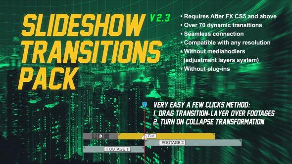 AE模板-70组动态图片视频炫酷无缝转场效果 Slideshow Transitions Pack