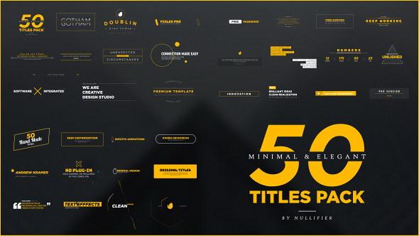 AE模板:50种优雅迷你文字标题动画 50 Minimal & Elegant Titles Pack