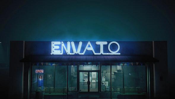 AE模板:门市店铺能量电流霓虹灯文字显示 Epic Neon in The Street