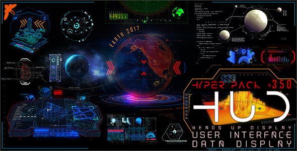 ae模板-350 高科技三维全息投影hud科幻电影游戏ui元素 hud hyper