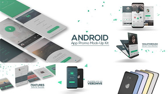 AE模板:安卓手机APP应用操作界面展示 Android App Promo Mock-Up Kit
