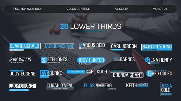 AE模板:20种简洁文字标题字幕条 Lower Thirds