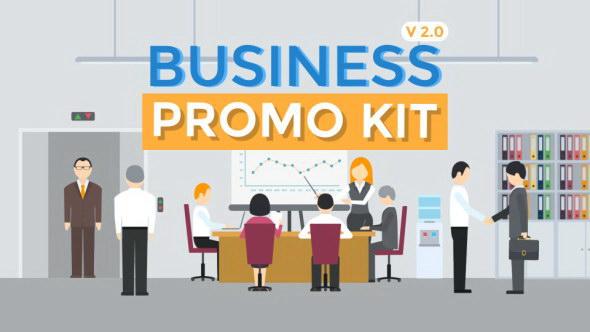 AE模板:公司企业商务会议办公场景MG动画 Business Promo Kit