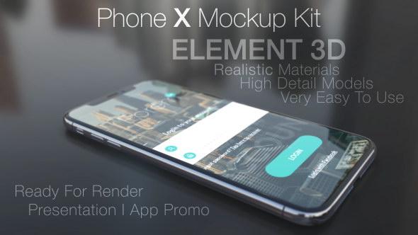 AE模板:苹果iPhone X手机三维模型界面展示动画 Phone X Mockup Kit