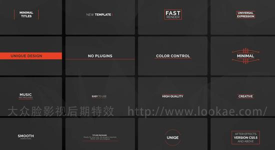AE模板:100种迷你文字标题排版动画 100 Ultra Minimal Titles