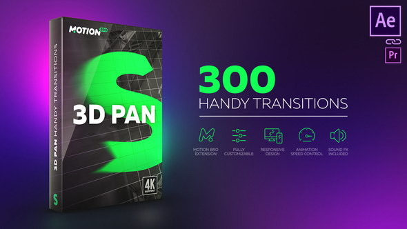 AE模板+脚本:300组三维摄像机旋转视频无缝转场预设 3D Transitions