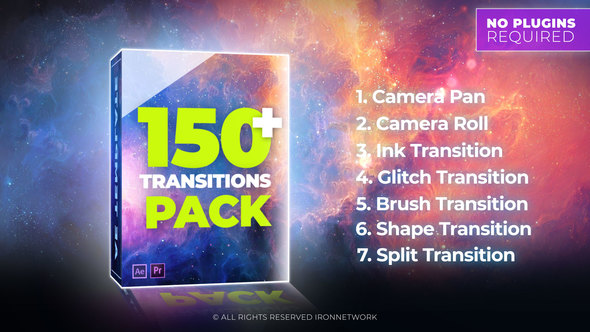 AE模版:150种多效果转场动画包 Transitions
