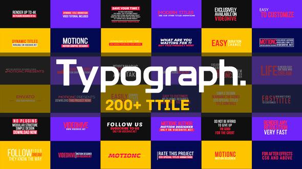 AE模版:200个文字标题排版动画展示包 Typograph