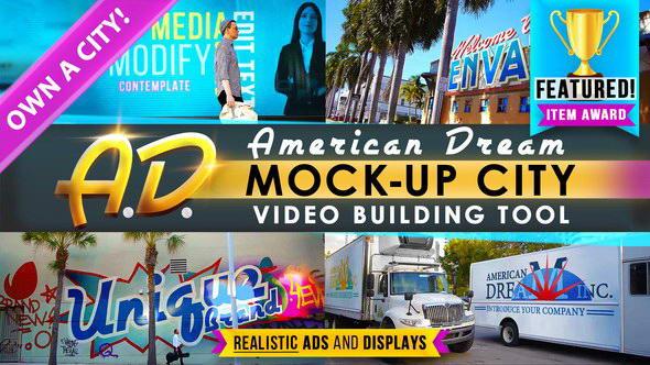 AE模板:城市街道马路汽车店招广告牌跟踪替换场景动画 AD - City Titles Mockup Business Intro