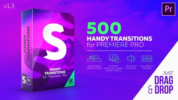 【A15】Premiere模板:500种缩放冲击平移扭曲干扰炫光转场
