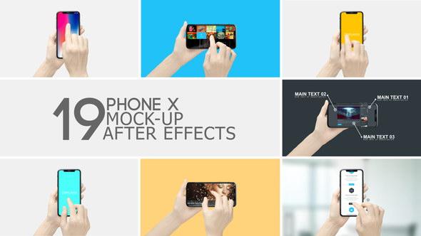 AE模板-手持iPhone X手机点击滑动APP展示动画 Smartphone Display App Promo