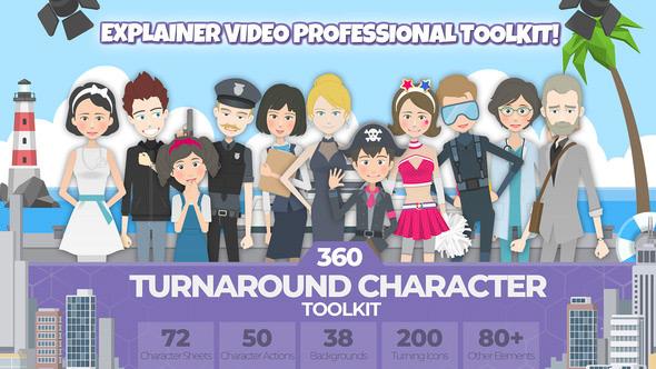 AE模板-360可旋转卡通人物男女小孩角色场景MG动画素材包 360 Turnaround Character Toolkit