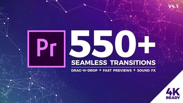 Premiere模板:550个冲击缩放干扰破损平移扭曲炫光转场+音效 Seamless Transitions