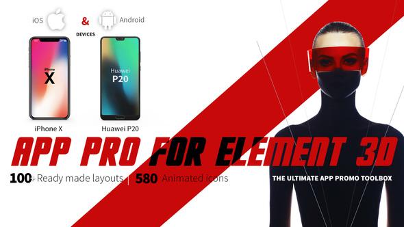 AE模板-E3D iPhoneX/华为P20 手机APP展示三维动画片头App Pro for Element 3D