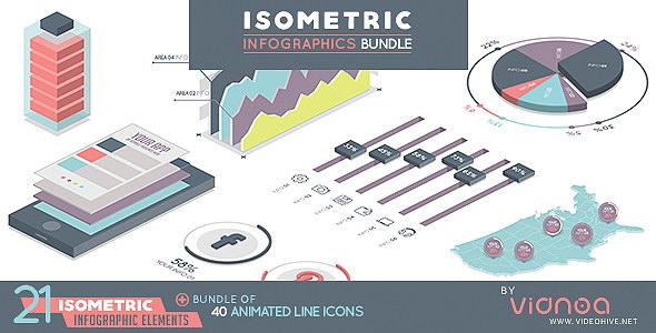 AE模板+PR预设-三维等距扁平化柱状图饼状图信息数据图表动画 Isometric Infographics Bundle