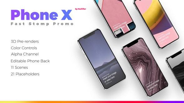 AE模板-iPhoneX手机快闪风格APP展示动画片头 App Promo Stomp - Phone X