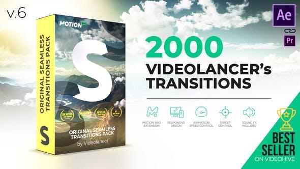 AE脚本-2000个扭曲变形干扰旋转缩放冲击视频无缝转场预设 V6.1 Win/Mac