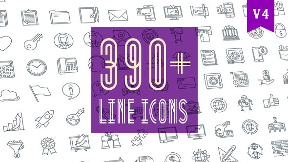 AE模板-390个线条风格Icons图标MG动画包 Line Icons Pack 390 Animated Icons