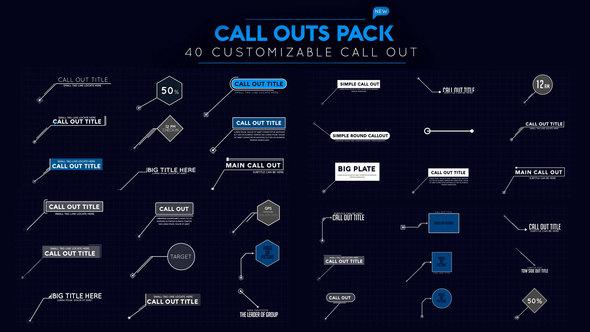 AE模板:40组科技感呼出线条文字介绍动画 Callout Pack