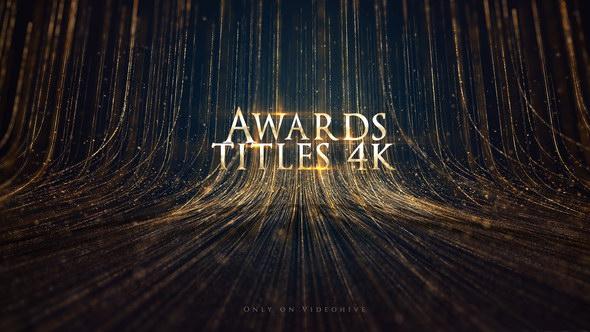AE模板:奢华粒子线条背景颁奖典礼文字标题片头 Awards Titles 4K and Awards Background Loop 4K