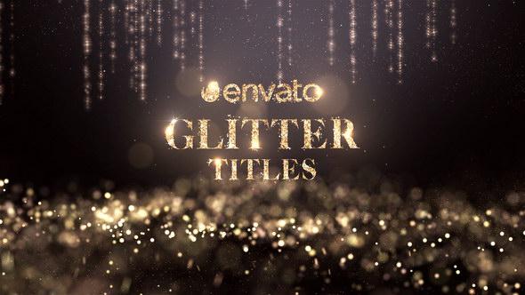 AE模板:高贵金色粒子背景颁奖文字标题片头 Glitter Titles