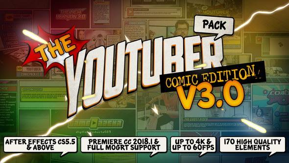 AE模板+PR预设-卡通漫画网络视频推荐宣传包装字幕条Logo展示V3