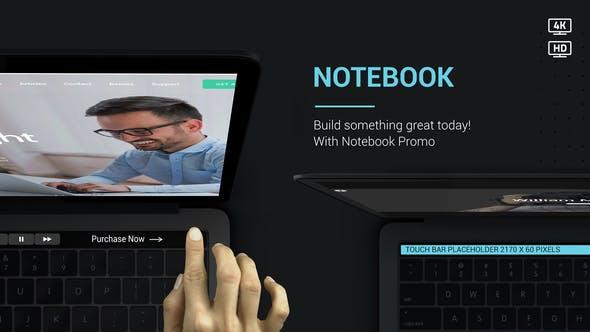 AE模板-苹果笔记本电脑网站商品宣传动画片头Notebook Web Promo V2