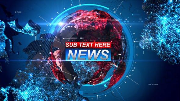 AE模板-科技感三维地球电视广播新闻栏目包装片头 Breaking News