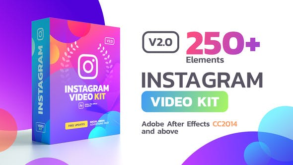 AE模板-250个手机抖音微信小程序竖版图文设计排版包装动画 Instagram Stories v2.0.1