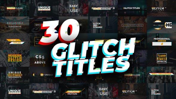 AE模板-30种信号干扰像素损坏文字标题动画 Glitch Titles