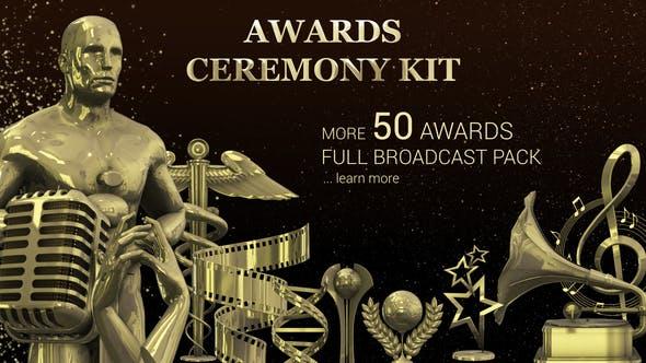 AE模板-三维小金人奖杯金色粒子晚会活动颁奖典礼栏目包装开场片头Award Ceremony Kit