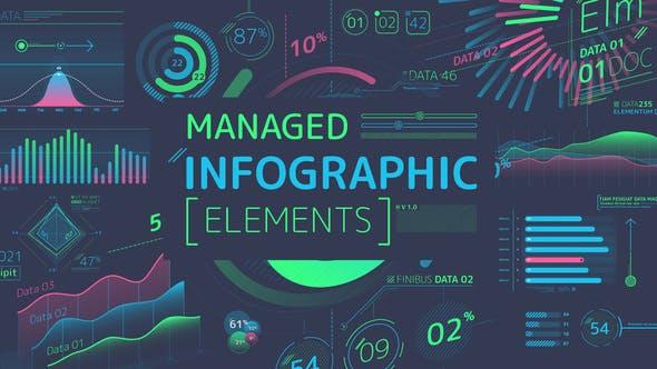 AE模板-彩色信息数据图表柱状图饼状图动画 Managed Infographic Elements