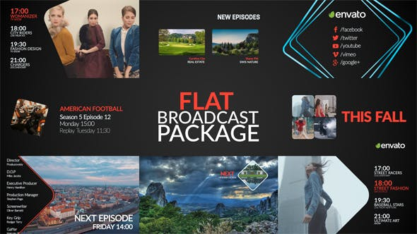 AE模板-现代流行扁平化电视节目预告导视栏目包装 Flat Broadcast Package