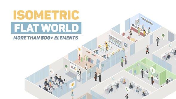 AE模板-500+三维扁平化等距人物场景元素MG动画 Isometric Flat World