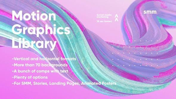 PR CC 2019模板-漂亮时尚抽象背景文字标题竖屏视频海报包装动画