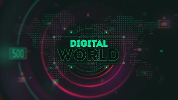 AE模板-数字科技感世界地图LOGO标志展示片头 Digital World Opener