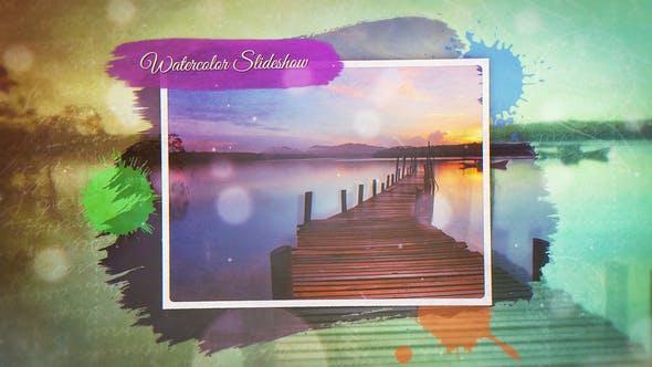 AE模板-彩色水墨遮罩回忆照片相册图文展示片头 Watercolor Slideshow