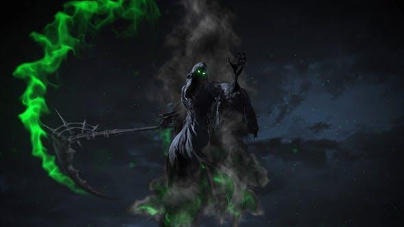AE模板-死神镰刀怒斩LOGO标志展示片头 Cinematic Reaper Logo