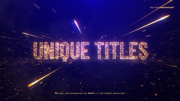 AE模板-金色粒子文字穿梭颁奖典礼片头开场+背景音乐