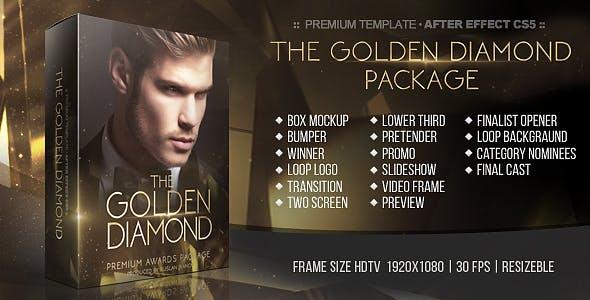 AE模板-华丽史诗金色粒子公司年会活动颁奖典礼图文开场片头 The Golden Diamond Awards Package