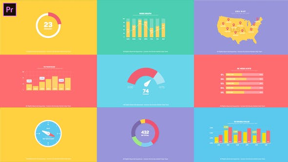 AE模板+PR预设-扁平化数据信息柱状图饼状图环形图数据展示MG动画