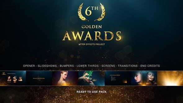 AE模板-大气金色粒子人物介绍颁奖典礼包装开场片头+背景音乐