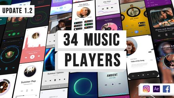 AE模板-34组竖屏音乐播放器节奏可视化动画